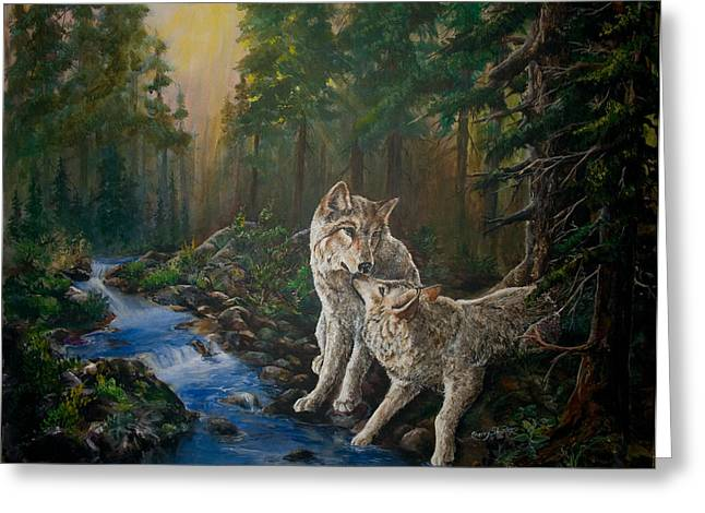 Wolf Creek Paintings Greeting Cards - Forest mates Greeting Card by Sherry Shipley