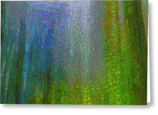 Forest Mood Green And Blue Greeting Card by Dan Sproul