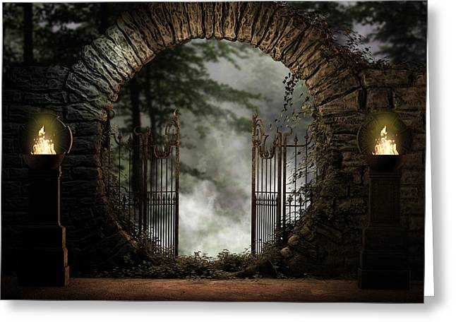 Medieval Entrance Digital Greeting Cards - Forest Moon Gate Greeting Card by Suzanne Amberson