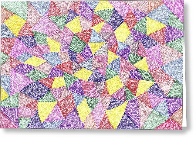 Geometric Image Drawings Greeting Cards - Forest No 72 Greeting Card by J A   Art Gallery