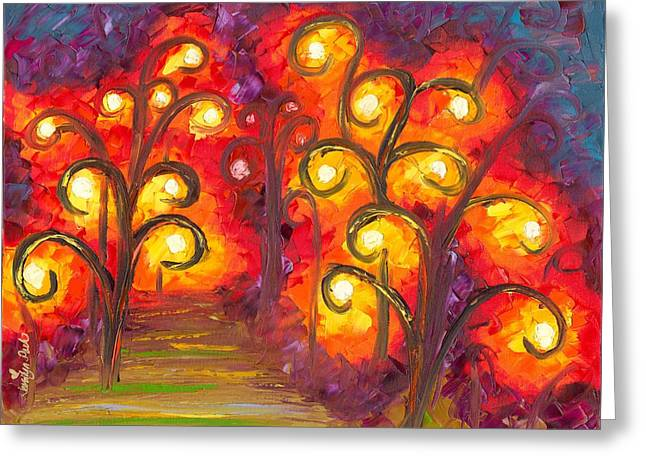 Jessilyn Park Greeting Cards - Forest of Fire Orbs Greeting Card by Jessilyn Park