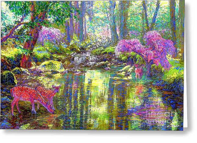 Baby Pink Greeting Cards - Forest of Light Greeting Card by Jane Small