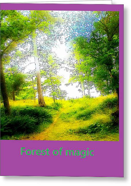 Despair Mixed Media Greeting Cards - Forest of magic Greeting Card by Hilde Widerberg