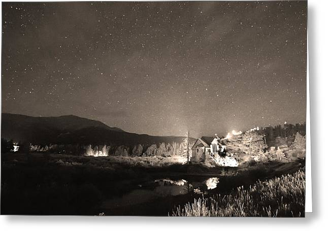 Chapel On The Rock Photographs Greeting Cards - Forest of Stars Above The Chapel on the Rock Sepia Greeting Card by James BO  Insogna