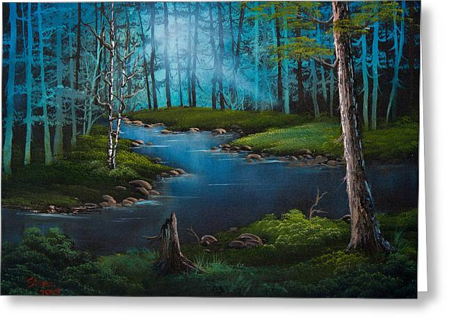 Bob Ross Paintings Greeting Cards - Moonlit River Greeting Card by C Steele