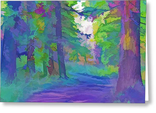 Country Dirt Roads Mixed Media Greeting Cards - Forest Road - Color Splash 2 Greeting Card by Steve Ohlsen