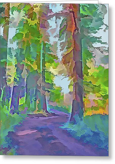 Country Dirt Roads Mixed Media Greeting Cards - Forest Road - Color Splash 4 Greeting Card by Steve Ohlsen