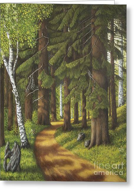 Vibrant Green Greeting Cards - Forest road Greeting Card by Veikko Suikkanen