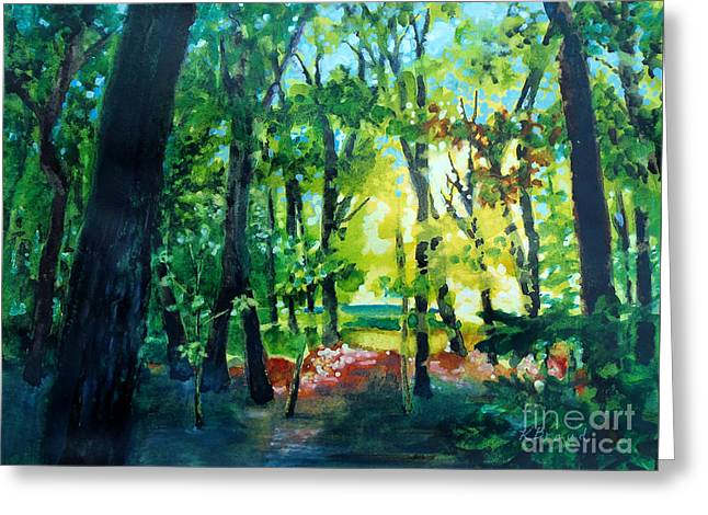 Spring Scenes Mixed Media Greeting Cards - Forest Scene 1 Greeting Card by Kathy Braud