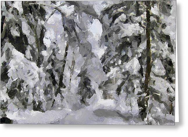 Great Mysteries Greeting Cards - Forest Snow Road Greeting Card by Yury Malkov