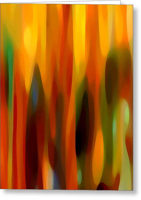 Abstract Forms Greeting Cards - Forest Sunlight Vertical Greeting Card by Amy Vangsgard