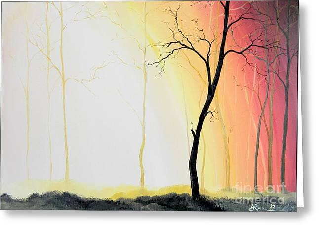 Stretched Cotton Canvas Greeting Cards - Forest Sunset Greeting Card by Denisa Laura Doltu