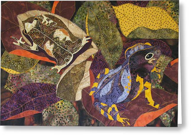 Amphibians Tapestries Textiles Greeting Cards - Forest Toads Greeting Card by Lynda K Boardman