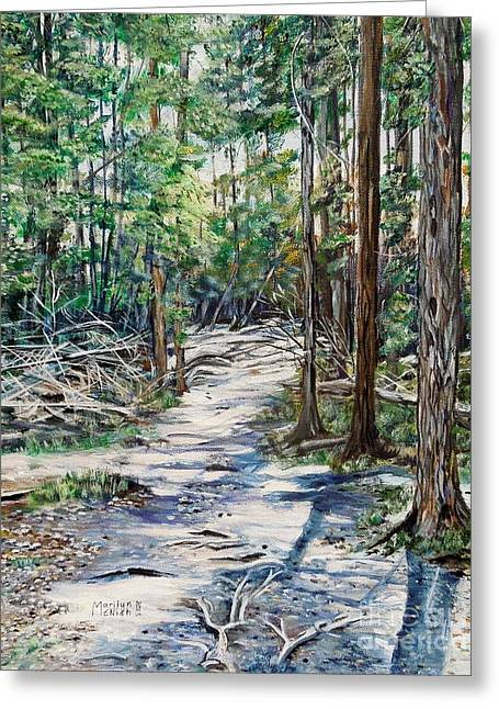 Tree Roots Paintings Greeting Cards - Forest Trail Greeting Card by Marilyn  McNish