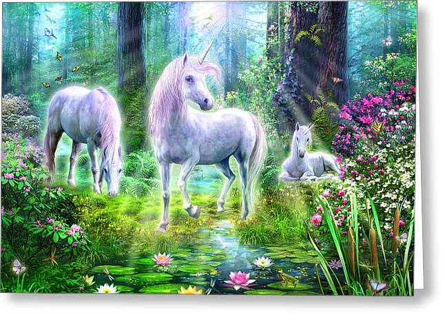 Animals Love Greeting Cards - Forest Unicorn Family Greeting Card by Jan Patrik Krasny