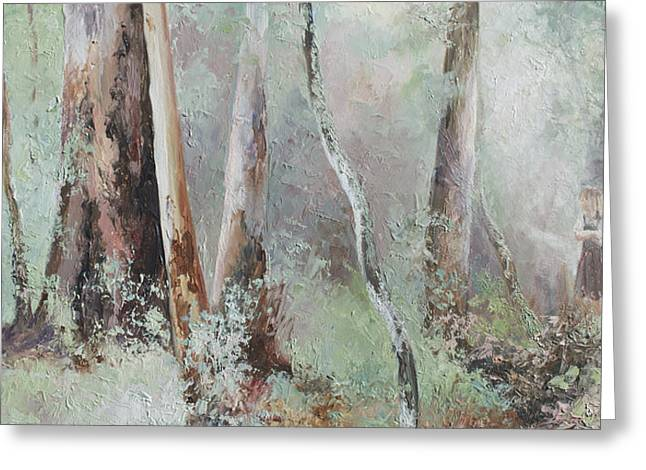 Lounge Paintings Greeting Cards - Forest Walk Greeting Card by Jan Matson
