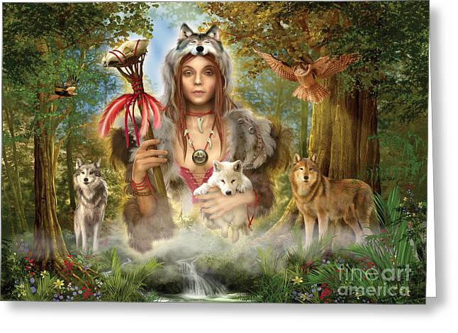 Woman Framed Prints Greeting Cards - Forest Wolves Greeting Card by Ciro Marchetti