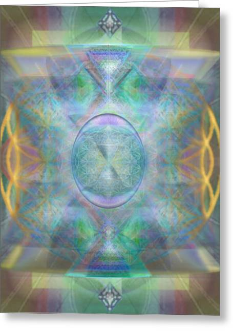 Forested Chalice In The Flower Of Life And Vortexes Greeting Card by Christopher Pringer