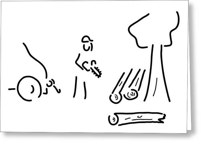 Saw Drawings Greeting Cards - Forestry Expert Greeting Card by Lineamentum