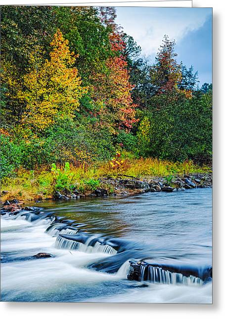 Beavers Bend Park Greeting Cards - Foretelling of a Storm Beavers Bend Broken Bow Fall Foliage Greeting Card by Silvio Ligutti