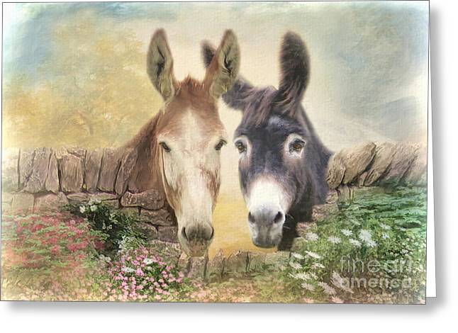 Donkey Mixed Media Greeting Cards - Forever Friends Greeting Card by Trudi Simmonds