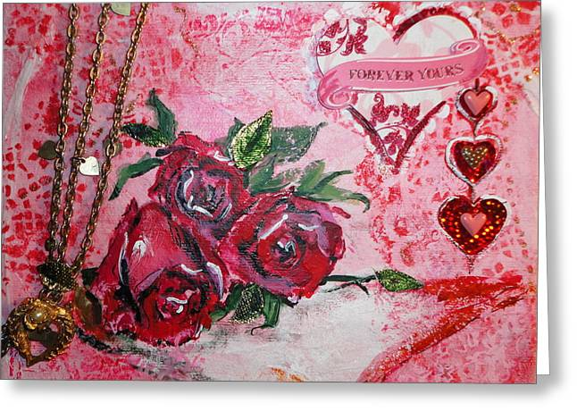 Gold Necklace Mixed Media Greeting Cards - Forever Love Greeting Card by Patty Boban Lipinski