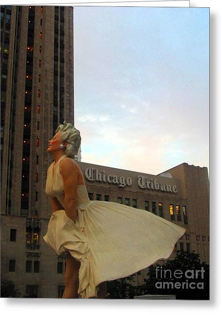 Recently Sold -  - 1955 Movies Greeting Cards - Forever Marilyn A-Dresses the Chicago Tribune Greeting Card by Matthew Peek