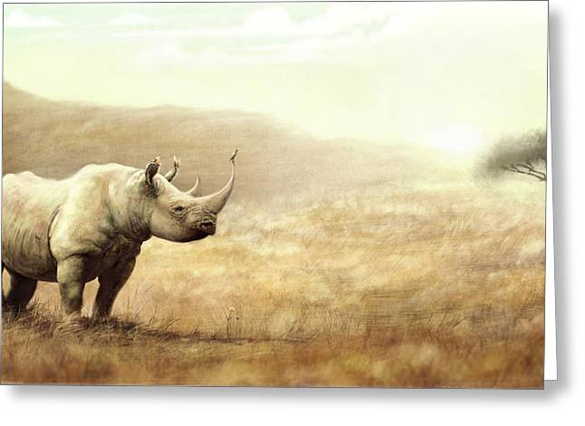 Recently Sold -  - Rhinoceros Greeting Cards - Forever Place Greeting Card by Hondo Branson