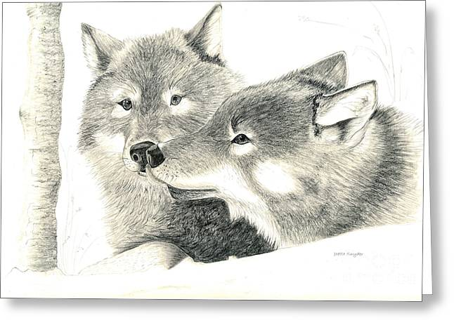 Animals Love Drawings Greeting Cards - Forever Wolf Love-The Greeting Greeting Card by Joette Snyder