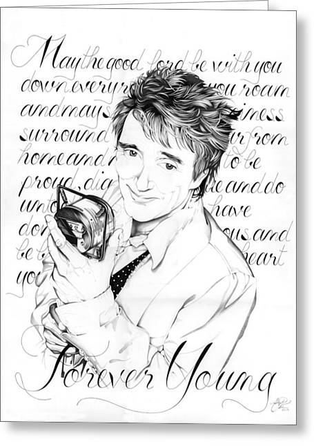 Script Drawings Greeting Cards - Forever Young Greeting Card by Stephanie Carrier