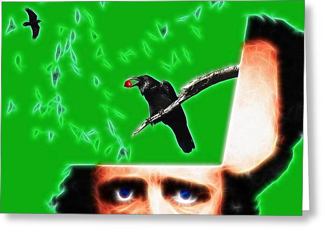 Mustache Digital Art Greeting Cards - Forevermore - Edgar Allan Poe - Green - Square Greeting Card by Wingsdomain Art and Photography