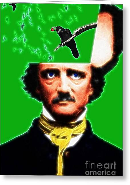 Mustache Digital Art Greeting Cards - Forevermore - Edgar Allan Poe - Green - Standard Size Greeting Card by Wingsdomain Art and Photography