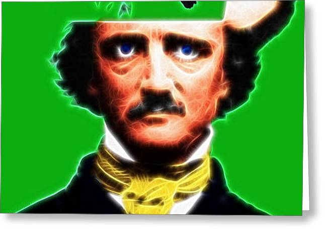 Forevermore - Edgar Allan Poe - Green Greeting Card by Wingsdomain Art and Photography