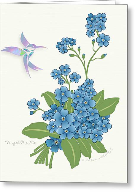Forgotten Mixed Media Greeting Cards - Forget Me Not Flower Greeting Card by Gayle Odsather