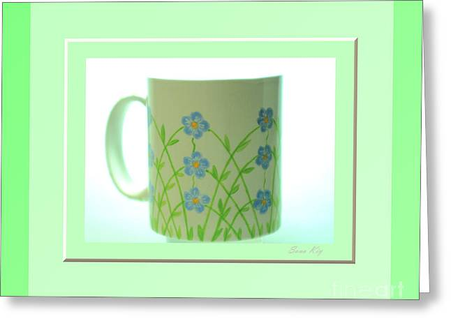 Gift Glass Greeting Cards - Forget Me Not. Green Greeting Card by Oksana Semenchenko
