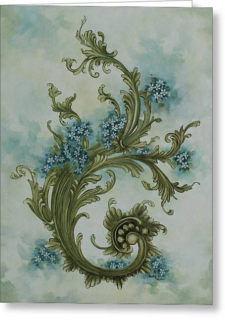 Becky Greeting Cards - Forget Me Not Scroll Greeting Card by Becky West