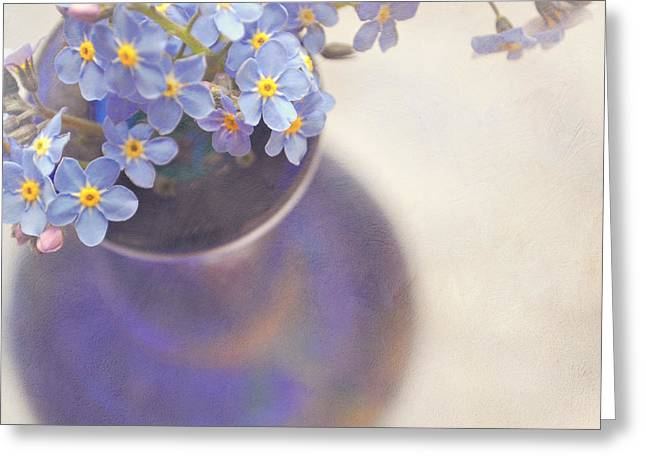 Forget me nots in blue vase Greeting Card by Lyn Randle