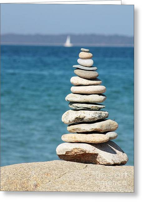 Stacked Rocks Greeting Cards - Forget Your Worries Greeting Card by Carol Groenen