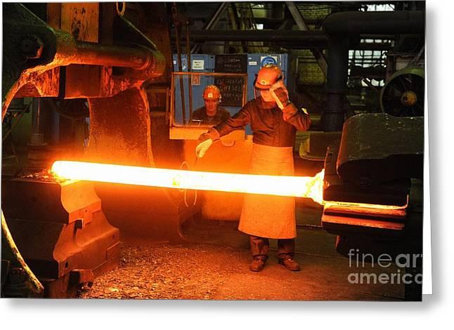 Forging Greeting Cards - Forging A Steel Billet Greeting Card by Ria Novosti