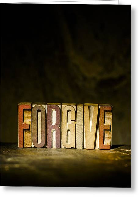 Positive Attitude Greeting Cards - FORGIVE Antique Letterpress Printing Blocks Greeting Card by Donald  Erickson