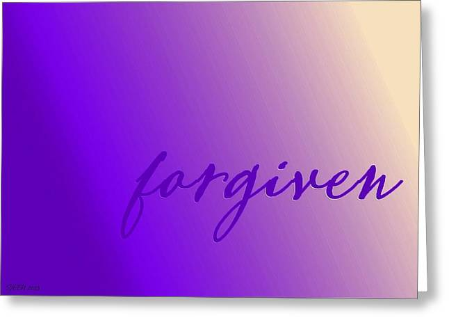Forgiven Digital Art Greeting Cards - Forgiven Purple Greeting Card by Christine Nichols