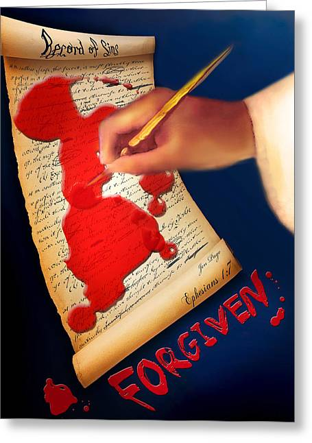 Forgiven Digital Art Greeting Cards - Forgiven   record of sins Greeting Card by Jennifer Page