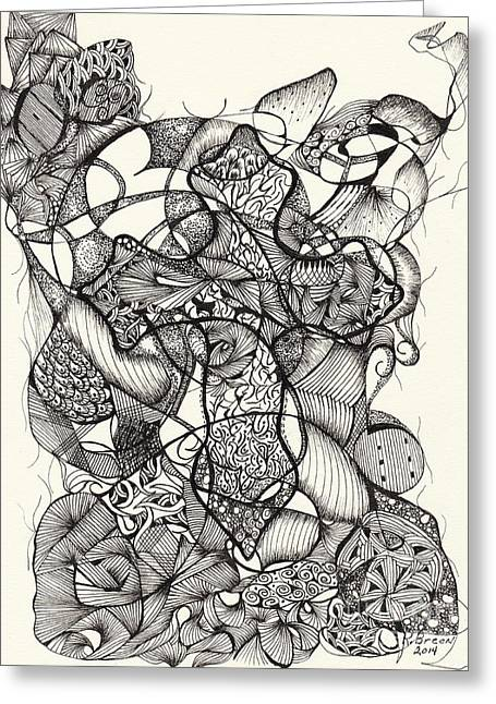 Organic Drawings Greeting Cards - Forgiven Greeting Card by Ronda Breen