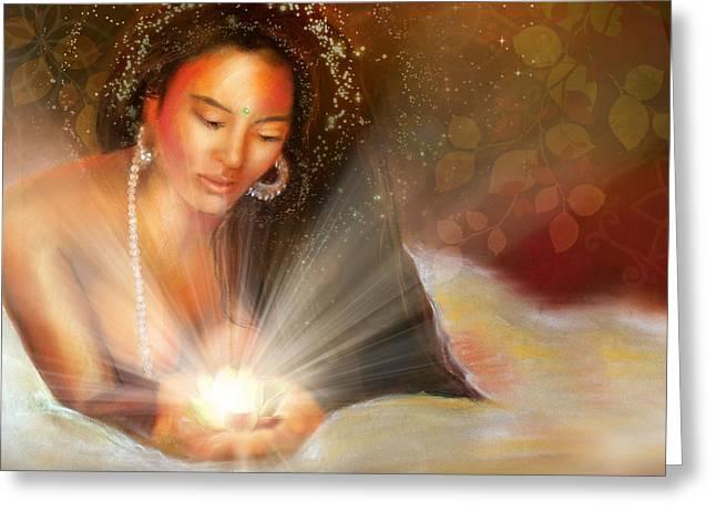 Watching Pastels Greeting Cards - Forgiveness Goddess Greeting Card by Lucinda  Rae