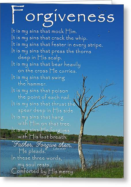 Forgiveness Greeting Cards - Forgiveness It Is My Sins Greeting Card by Robyn Stacey
