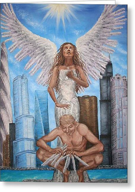Forgiveness Greeting Cards - Forgiveness Oil Painting on Canvas Angel Oil Painting Chicago Painting Forgiveness Painting Angel Greeting Card by Marta Sytniewski