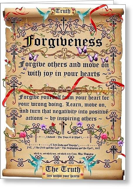 Calligraphy Print Greeting Cards - Forgiveness Greeting Card by Stephen Kovacs