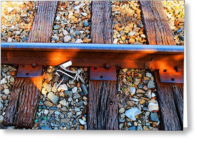 Forgotten - Abandoned Shoe On RailRoad Tracks Greeting Card by Sharon Cummings