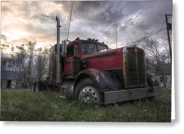 Left Behind Greeting Cards - Forgotten Big Rig 2013 Greeting Card by Aaron J Groen