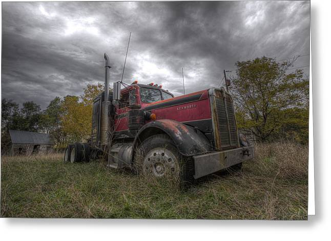 Left Behind Greeting Cards - Forgotten Big Rig 2014 V2 Greeting Card by Aaron J Groen